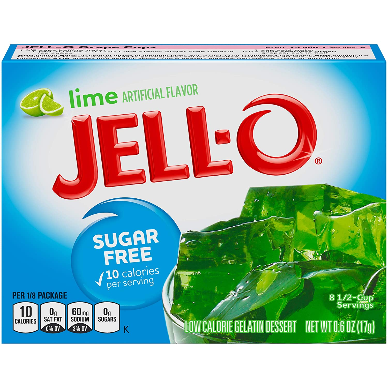 Jell-O Lime Sugar-Free Gelatin Mix (0.6 oz Boxes, Pack of 24)