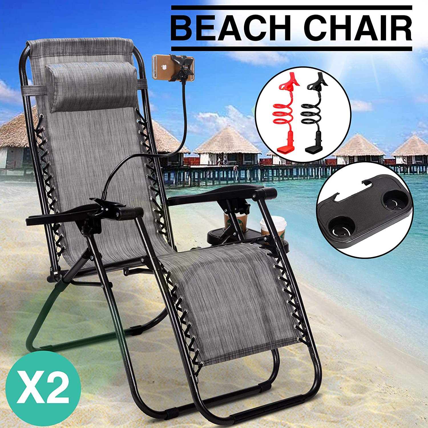 2 Pack of Zero Gravity Outdoor Folding Lounge Chairs w Sunshade Canopy Snack Tray,Adjustable Lawn Patio Reclining Chairs for Travel Yard Beach Pool Grey2