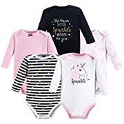 Hudson Baby Unisex Baby Long Sleeve Cotton Bodysuits, Sparkle Unicorn Long Sleeve 5 Pack, 3-6 Months (6M)
