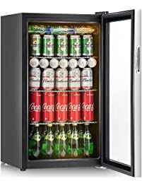 Bon Costway 120 Can Beverage Refrigerator And Cooler Mini Fridge With Glass Door  For Soda Beer Or