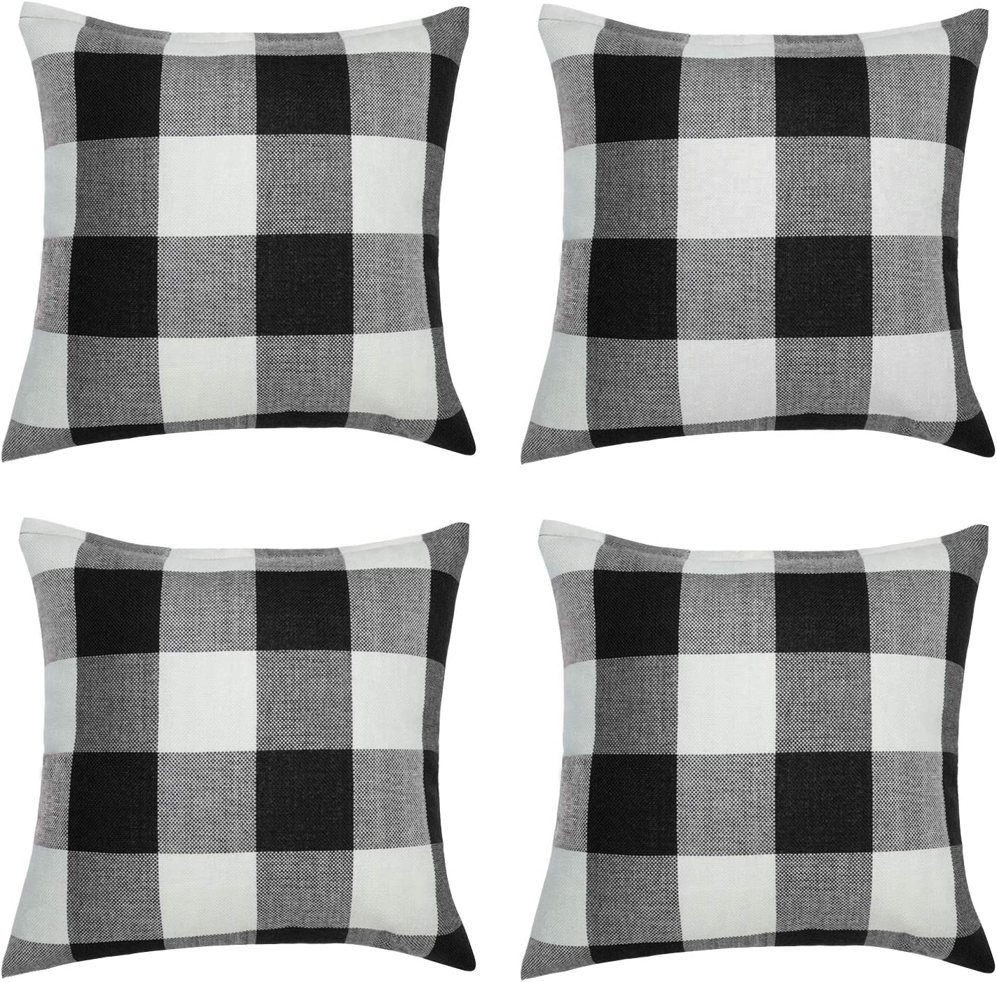 Aneco 4 Pack 18 x18 Inch Pillow Cover Buffalo Plaid Black White Check Plaid Cushion Classic Tartan Linen Pillow Cover Sofa Bedroom Car
