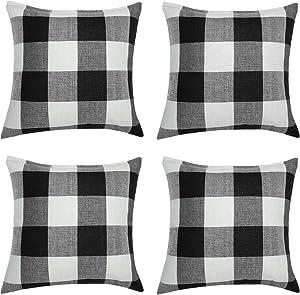 Aneco 4 Pack 18 x18 Inch Pillow Cover Buffalo Plaid Black White Check Plaid Cushion Classic Tartan Linen Pillow Cover Sofa Bedroom Car