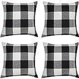 Aneco 4 Pack 18 × 18 Inch Pillow Cover Buffalo Plaid Black White Check Plaid Cushion Classic Tartan Linen Pillow Cover Sofa B