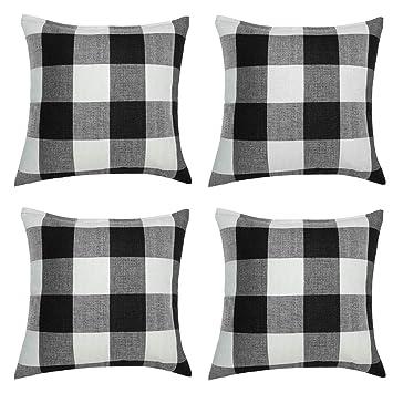 Amazon.com: Aneco - 4 fundas de almohada de lino tartán ...