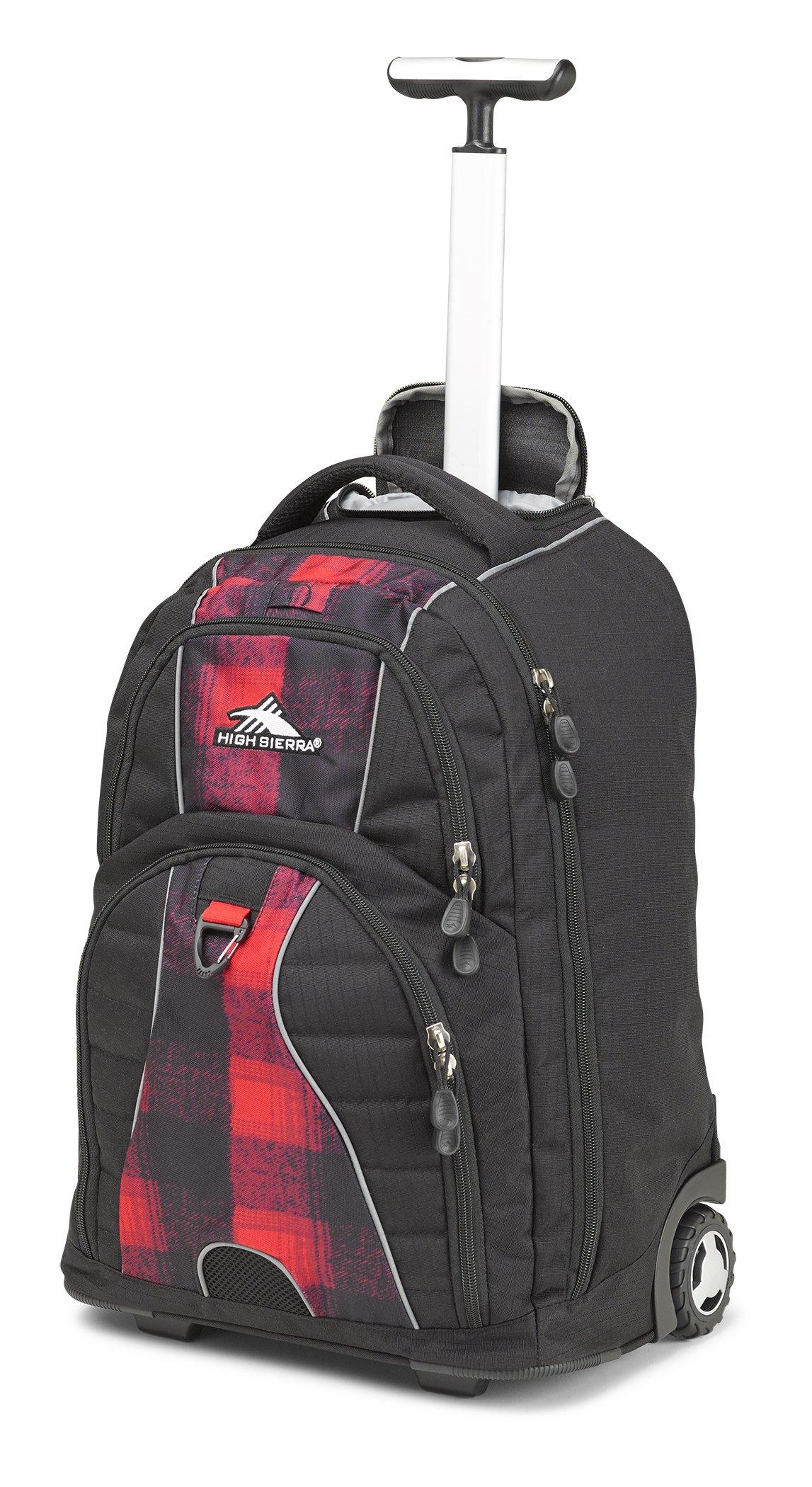High Sierra Freewheel Wheeled Laptop Backpack, Black/Buffalo Plaid/Crimson