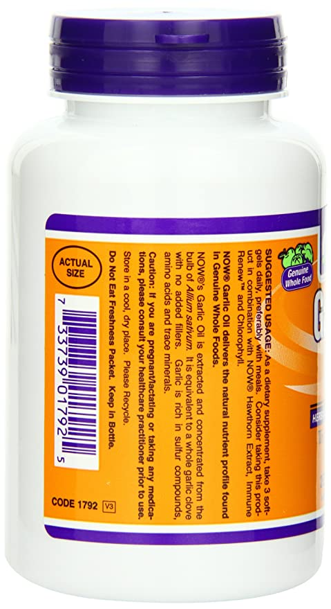 Now Foods, Ajo Aceite - 1500mg x250 Softgels: Amazon.es: Salud y cuidado personal
