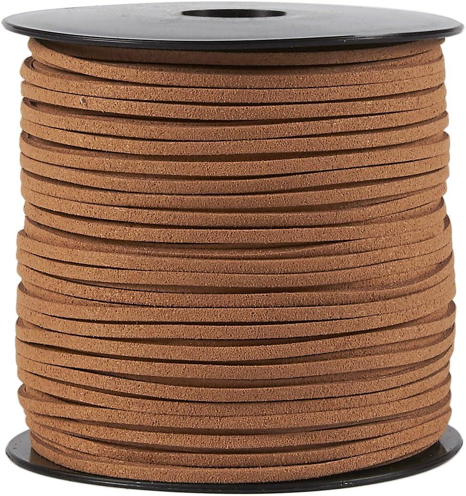 Juvale Faux cordón de Cuero - 100 Yardas del Cuero del Ante de la Correa Que rebordea la Cuerda, Planos de Cuero cordón de Cola, Caramelo, 0.08 Pulgadas de Ancho