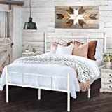 HAAGEEP White King Size Bed Frame with Headboard and Footboard Metal Platform Bedframe with Storage No Box Spring Needed 14 I
