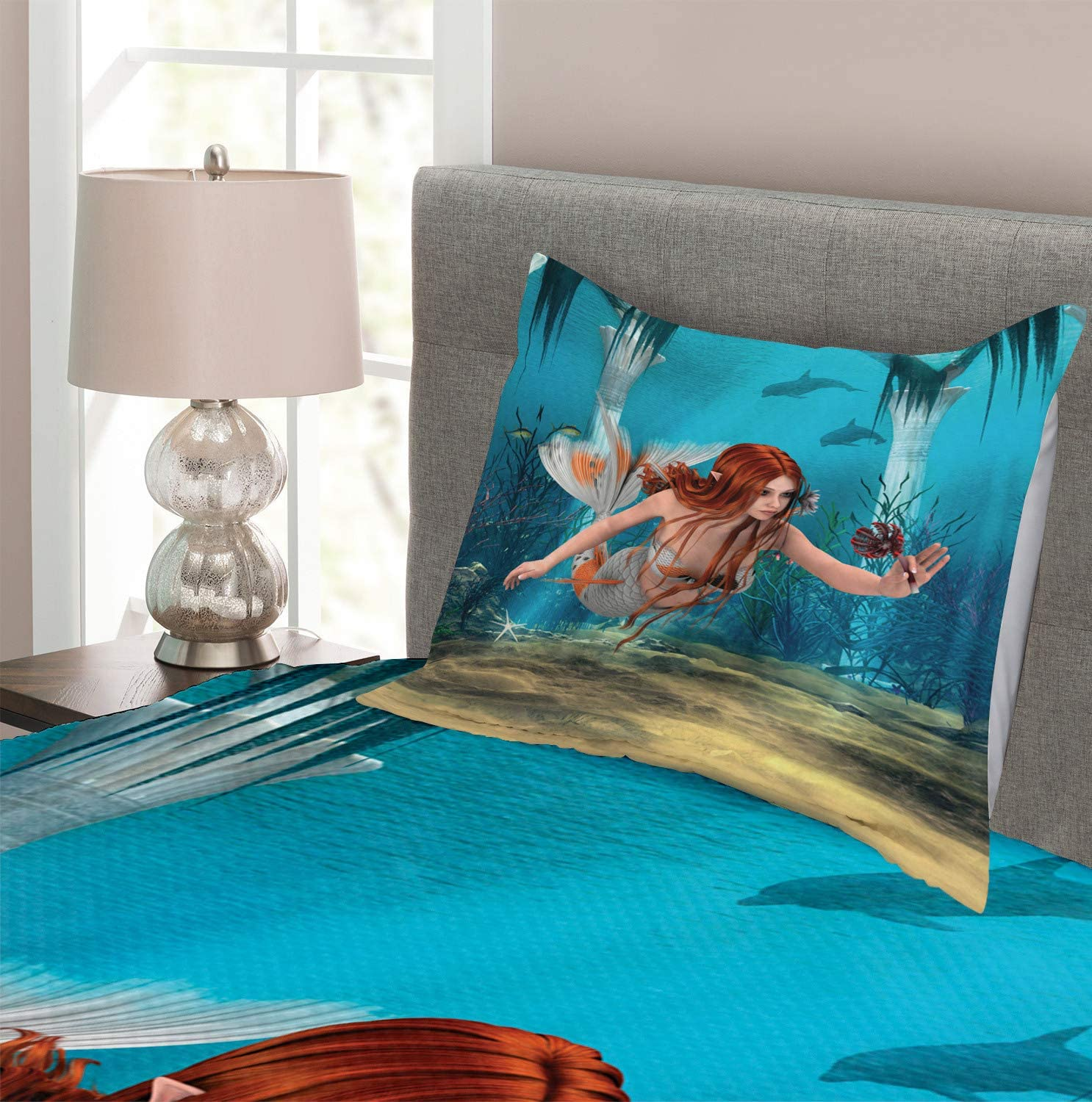 Twin Size Llama Guanaco South American Animals Childish Hand Drawn Style Cartoon Art Print Blush Blue Decorative Quilted 2 Piece Coverlet Set with Pillow Sham Ambesonne Hipster Bedspread