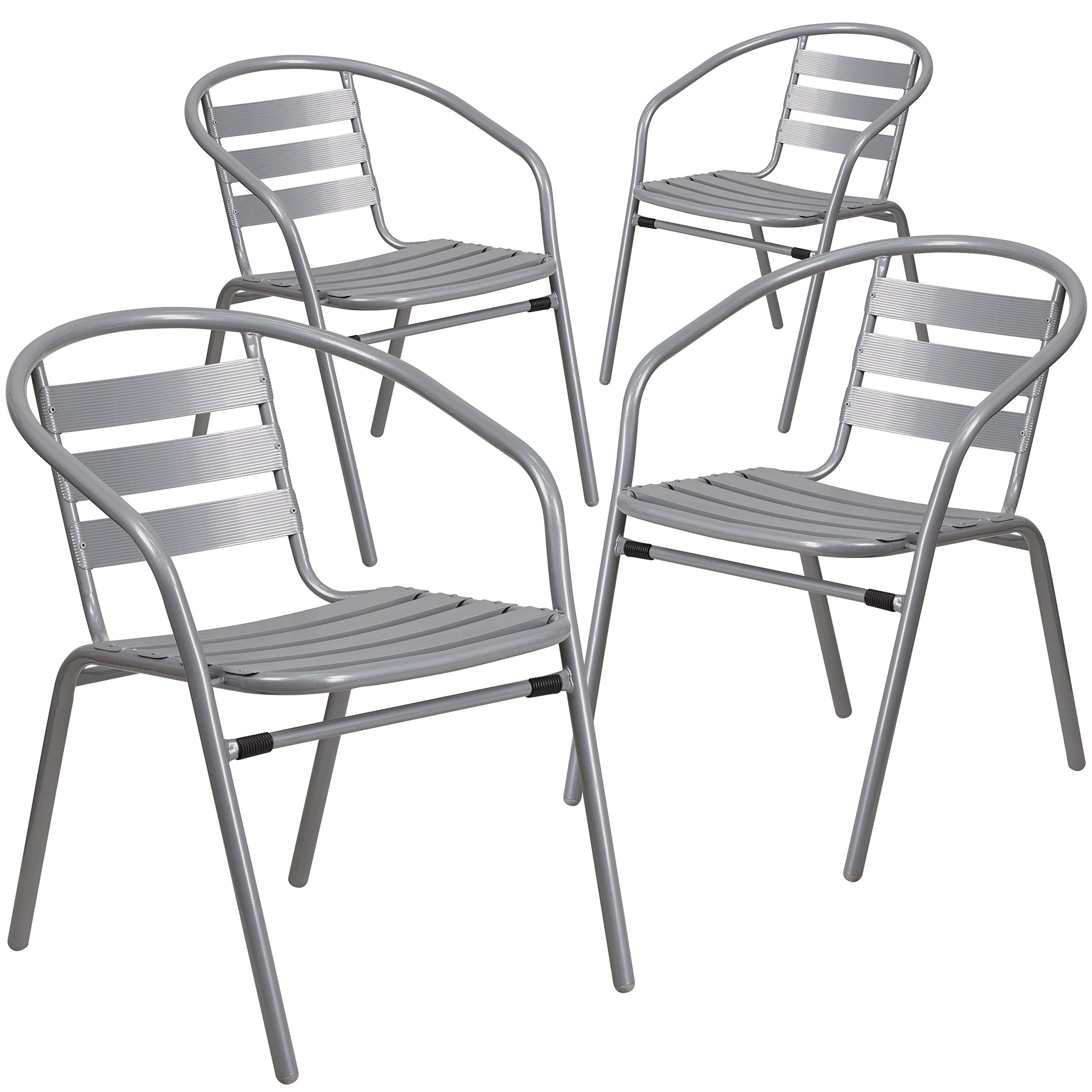 Flash Furniture 4 Pk. Silver Metal Restaurant Stack Chair with Aluminum Slats by Flash Furniture (Image #1)