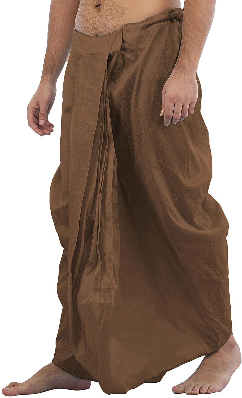Maenner-Dhoti-Dupion-Silk-Plain-handgefertigt-fuer-Pooja-Casual-Hochzeit-Wear Indexbild 40
