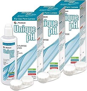 Menicon Unique pH Multi-Purpose Solution with RGP Lens Case.4 Fluid Ounce each - 3 Pack