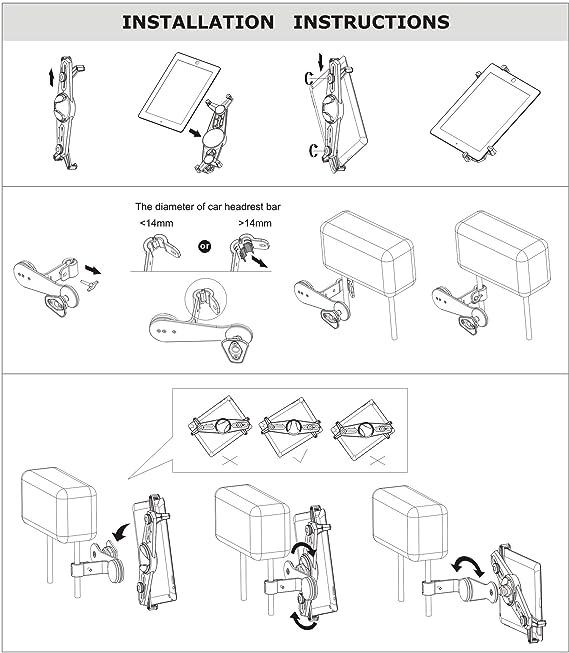 Amazon Com Zazz Car Headrest Flexible Tablet Mount Aluminium