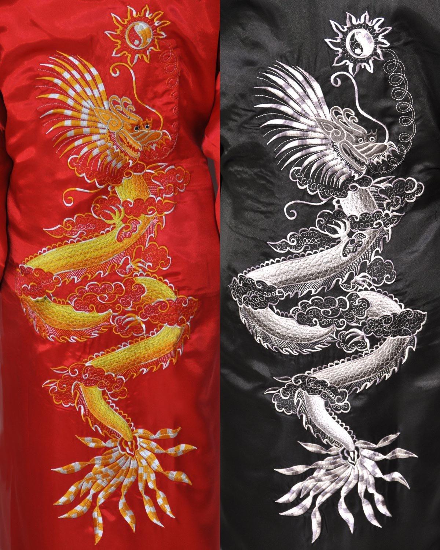 one size Damen rot//schwarz Wilai Kimono wendbar aus Satin lang