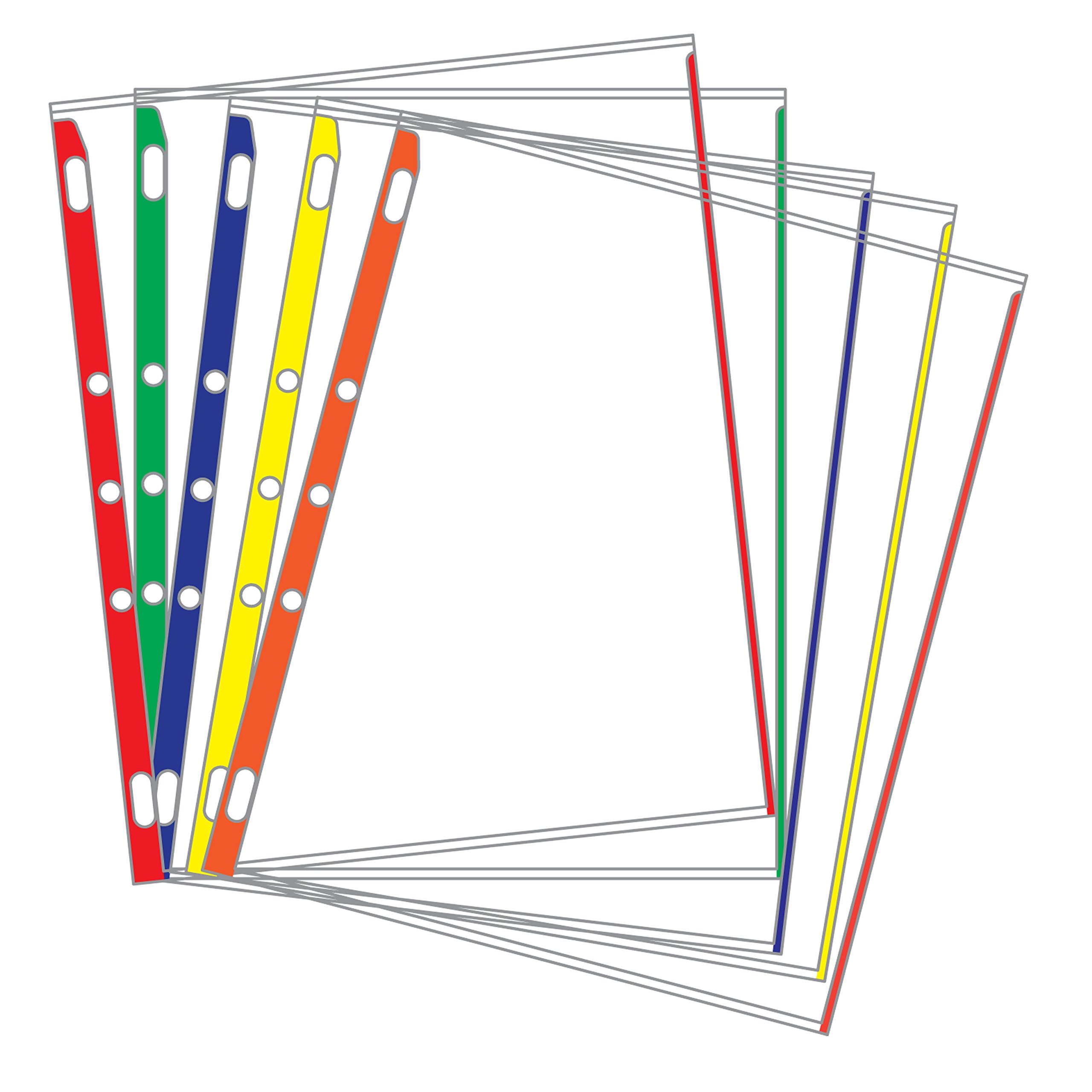 Sheet Protectors Color-Coded Edges 8.5 X 11 Pack of 100 (Assorted) by EnvyPak (Image #1)