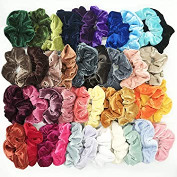 bf397b3f55a0 Amazon.com : 40 Pcs Hair Scrunchies Velvet Elastic Hair Bands Scrunchy Hair  Ties Ropes Scrunchie for Women or Girls Hair Accessories - 40 Assorted  Colors : ...