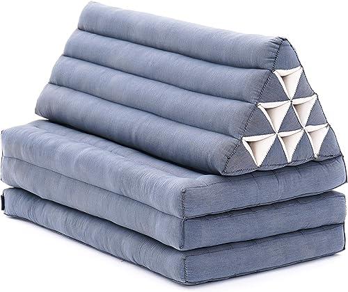 Leewadee XL Foldout Triangle Thai Cushion, 67×31.5×16 inches, Kapok, Anthracite