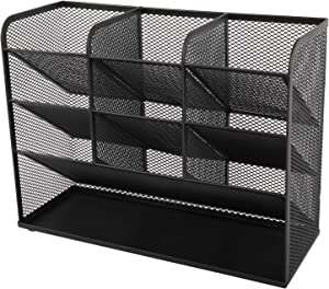 XMSound High Capacity Mesh Desk Organizer, Pen Organizer for desk, Desktop Stationary Organizer, Storage Rack for School Home Office Art Supplies(Black)