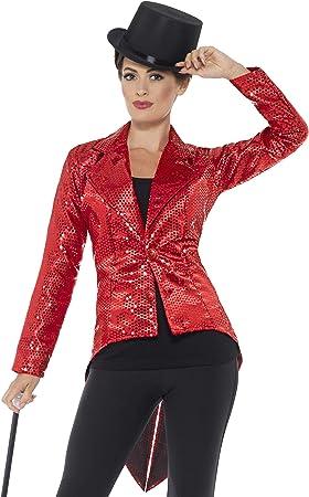 Smiffy'S 46958M Chaqueta De Frac Con Lentejuelas Para Mujer, Rojo, M - Eu Tamaño 40-42