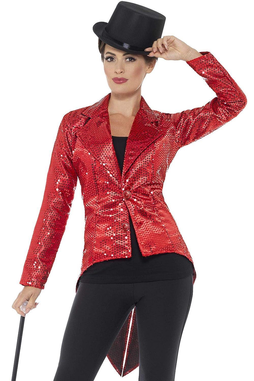 TALLA M - EU Tamaño 40-42. Smiffy'S 46958M Chaqueta De Frac Con Lentejuelas Para Mujer, Rojo, M - Eu Tamaño 40-42