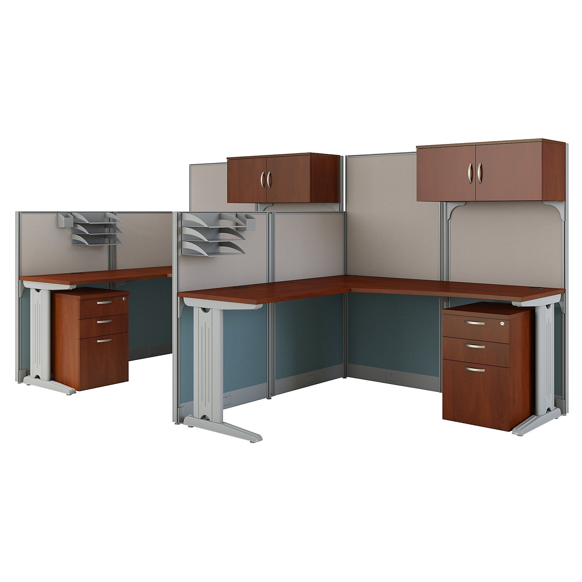 Office in an Hour 2 Person L Shaped Cubicle Workstations in Hansen Cherry by Bush Business Furniture