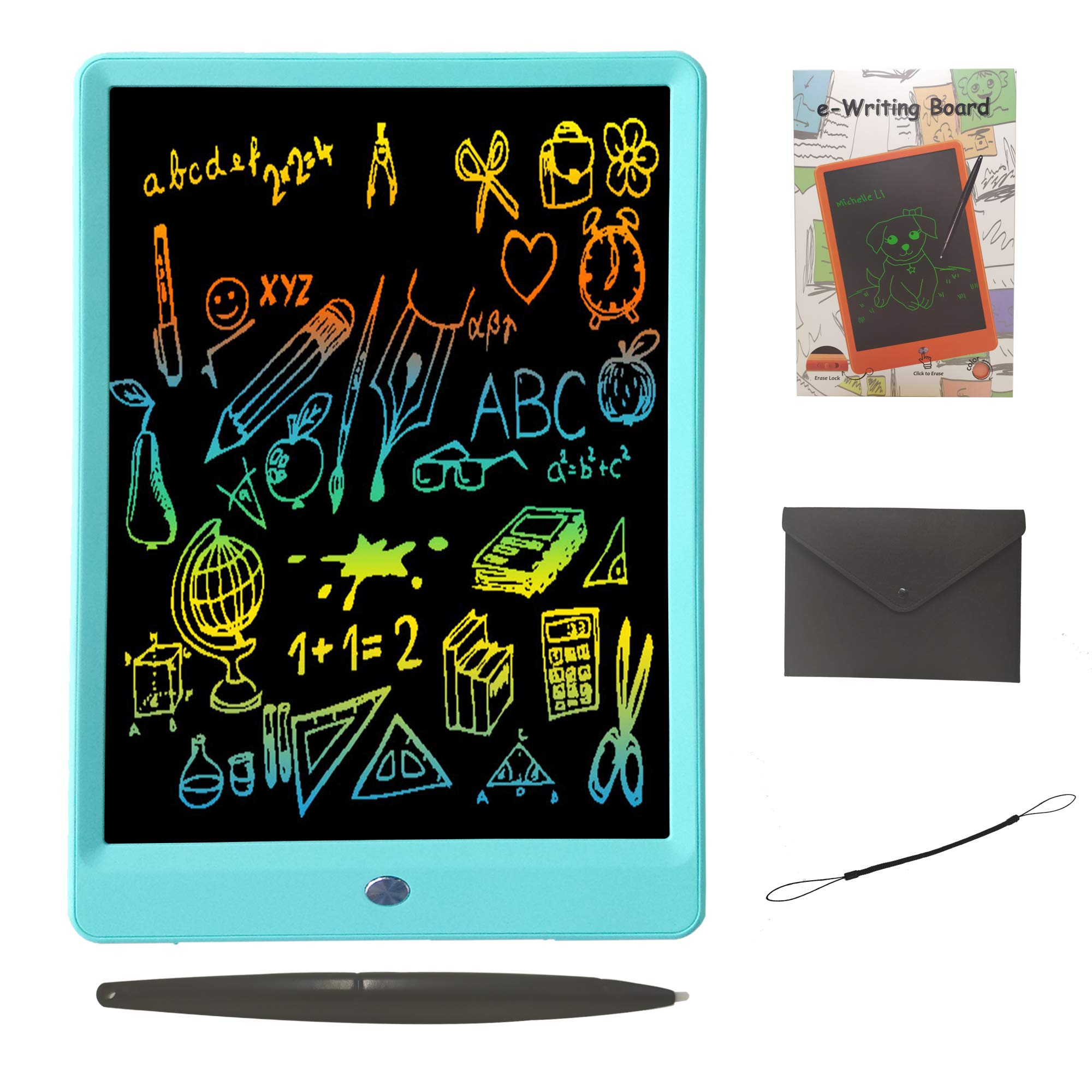 Drawing Tablet 10 Inches LCD Writing Tablet Colorful Screen, Doodle Board Electronic Doodle Pads Writing Board for Kids and Adults(Blue) by ZBHT (Image #1)