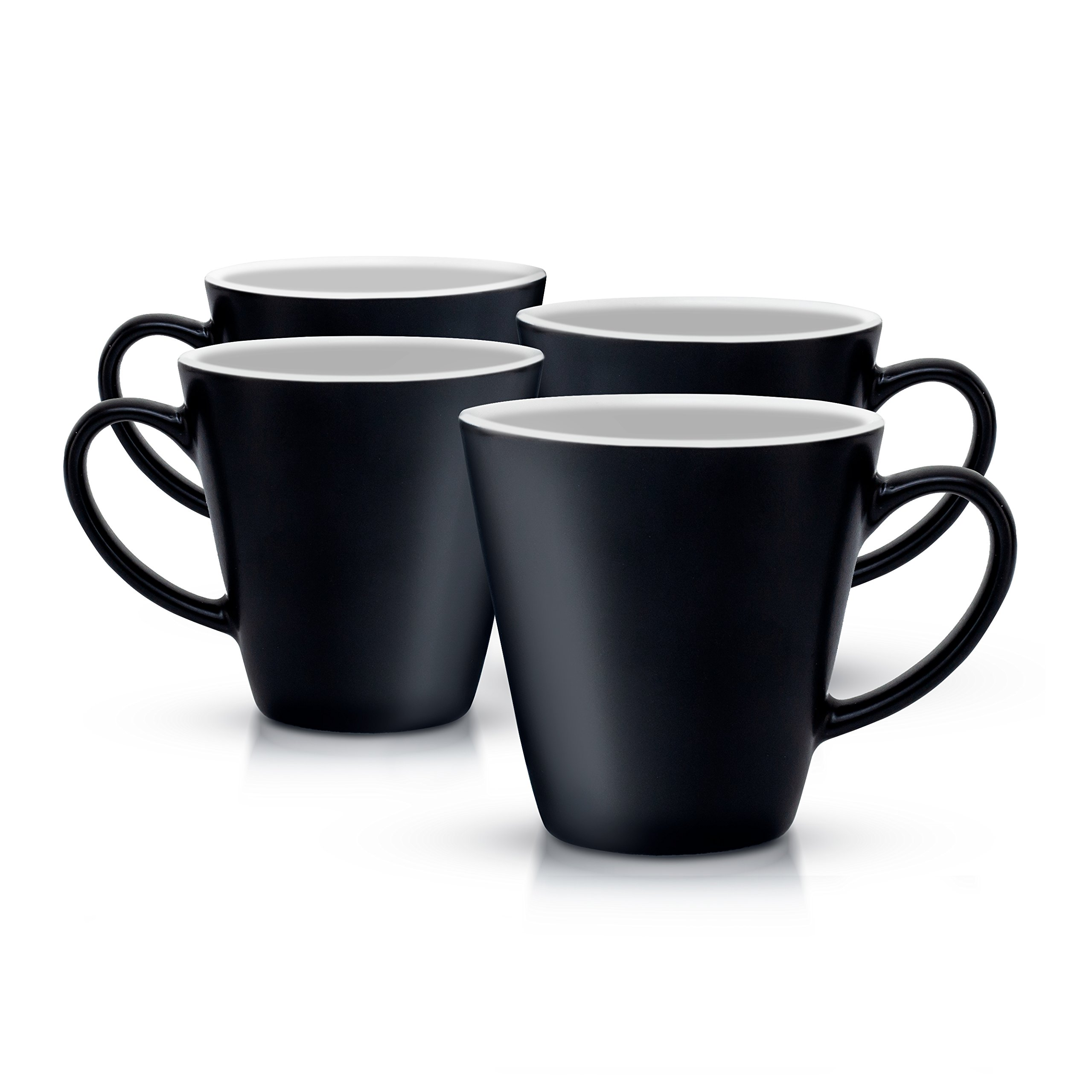 Gifffted Espresso Cups, Porcelain Coffee Shot Cups, 3 Ounce, 90 Milliliter, Ceramic, Black, Set of 4