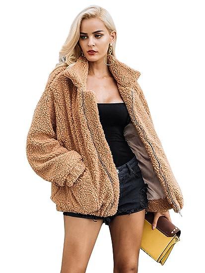 Simplee Apparel Femme Manteau Laine Chaud Décontracté Manches Longues Large  Veste Hiver Oversized Blouson 273cd8d55ea4