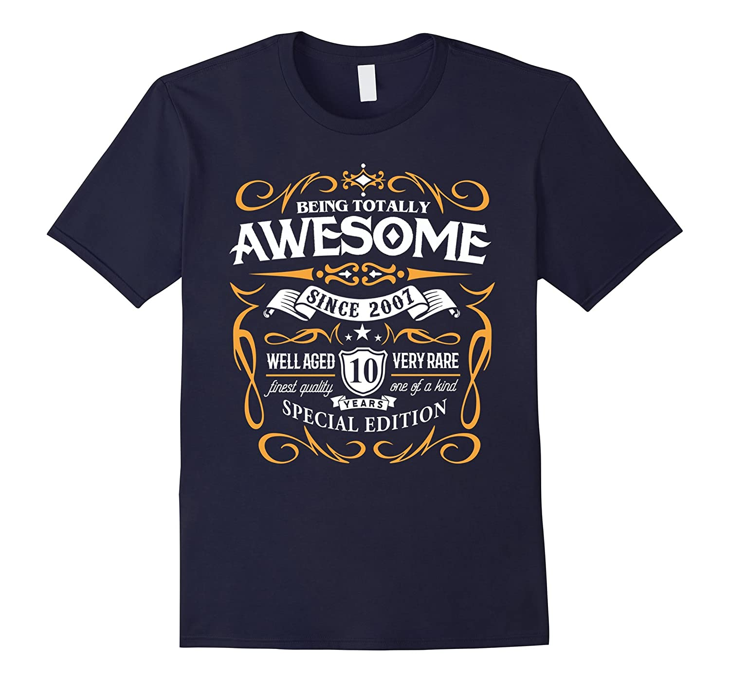 10th Birthday Gift T-Shirt Awesome Since 2007 Shirt for Kids-Vaci