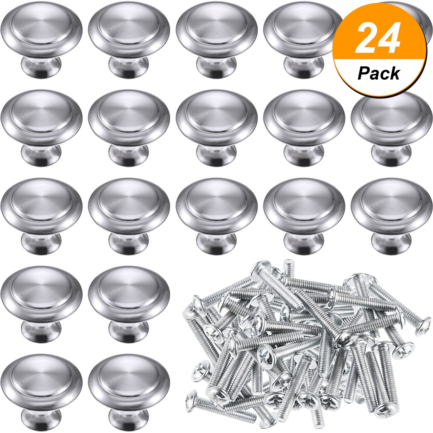 Bememo 24 Pack Silver Cabinet Knobs Kitchen Round Drawer Dresser Handles Kitchen Cabinet Round Pulls Hardware