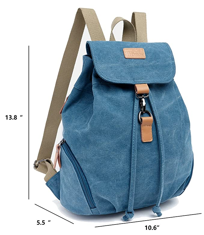 8dc37c0e8122 Amazon.com  Honeystore Women s Fashion Canvas School Rucksack Hiking  Backpacks Small Bookbag Style1 Blue  Clothing