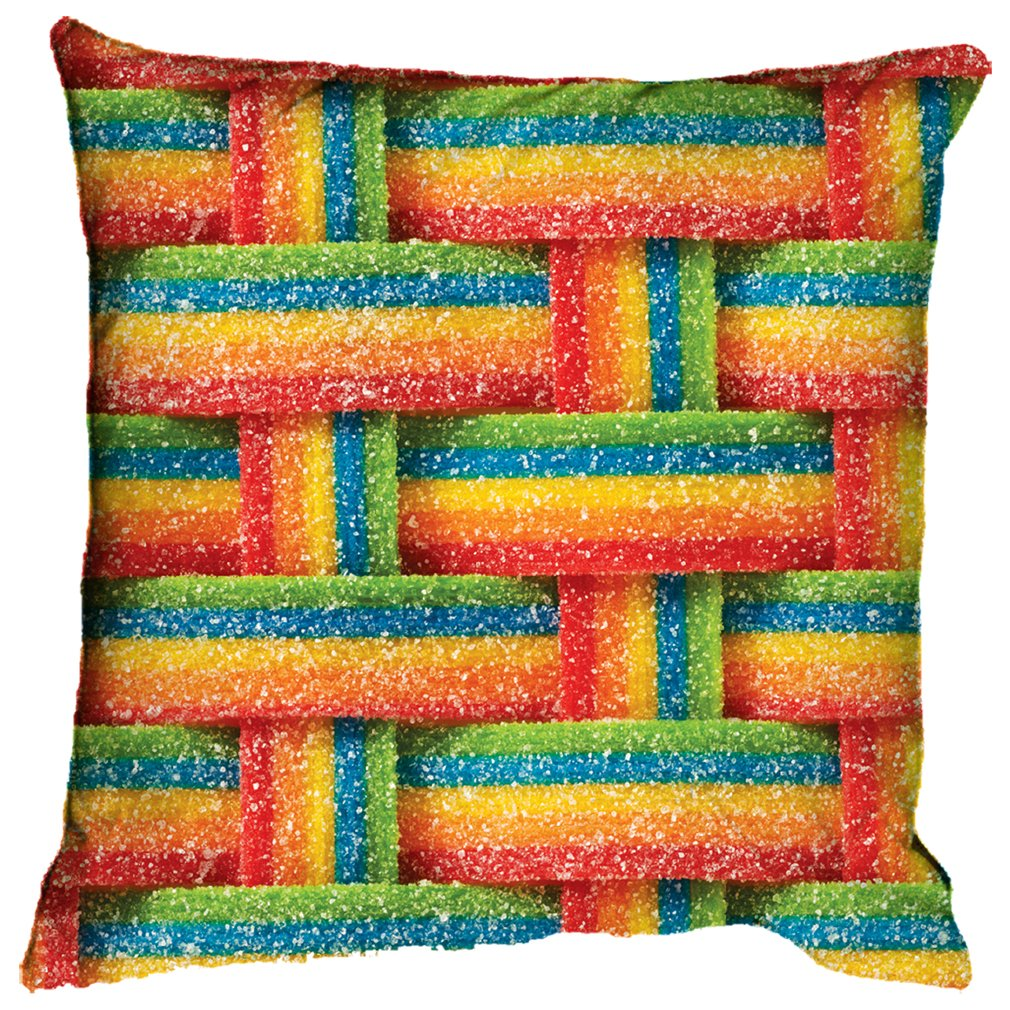 iscream Airheads Xtremes Rainbow Candy Print 16'' Fleece Back Microbead Pillow