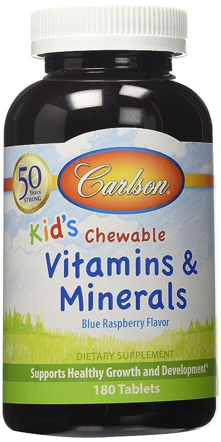 Vitaminas y Minerales Masticables, para niños, Natural azul Raspberry sabor, 180 tabletas