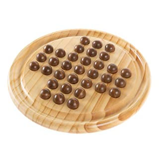 Hey! Play! Wooden Solitaire Board Game- Complete Set with Board & 33 Wood Marbles-Fun Vintage Style 1 or 2 Player Activity for Kids & Adults, Brown/A