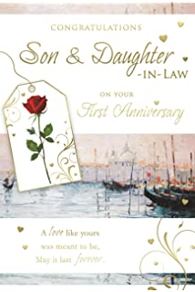 Son daughter in law 1st wedding anniversary card paper congratulations son daughter in law on your first anniversary 1st venice scene design greeting card m4hsunfo