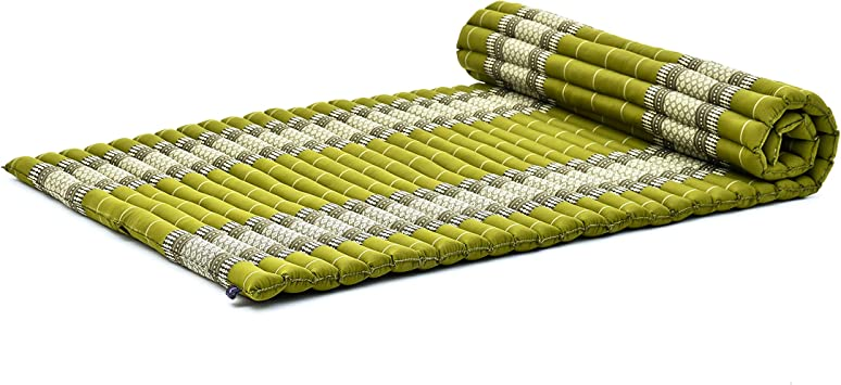 Leewadee XL Roll-Up Thai Mattress Twinsize Guest Bed Yoga Floor Mat Thai Massage Pad Eco-Friendly Organic and Natural, 79x41x2 inches, Kapok, Green