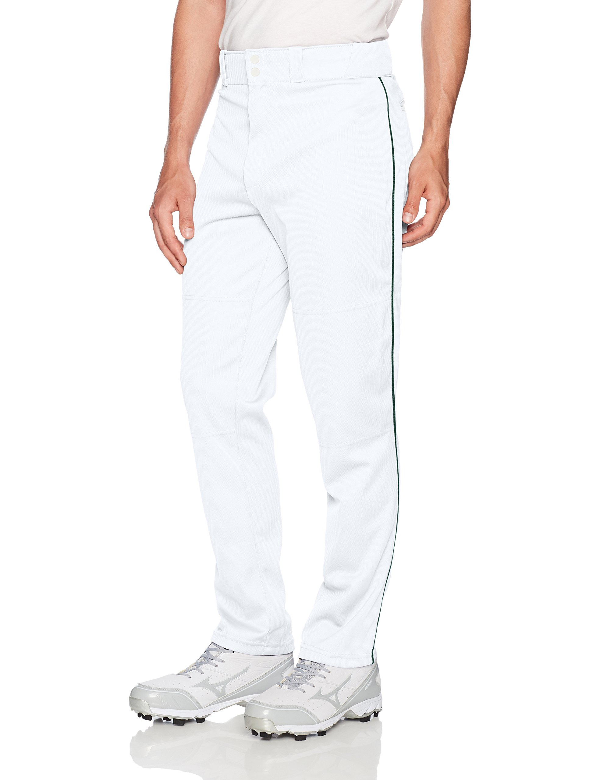 Wilson Men's Classic Relaxed Fit Piped Baseball Pant, White/Dark Green, XX-Large by Wilson