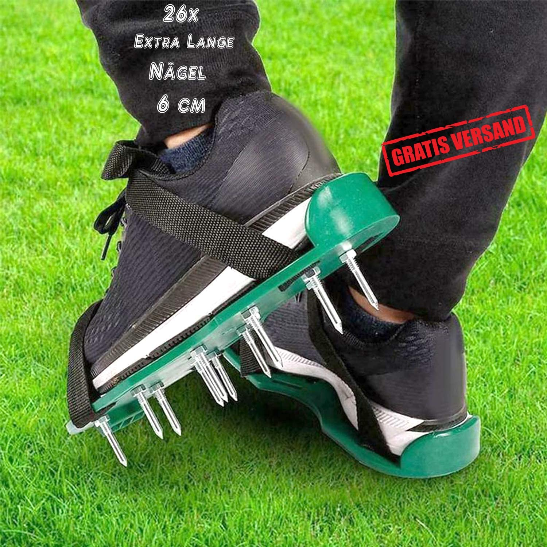 Aireador de césped con una profundidad total de 6 cm Aireador de césped Zapatas de regla Escarificador carrera Zapatos Zapatos de uñas Suela 26 clavos Maestra hormigón jardín Aireadores Sandalias