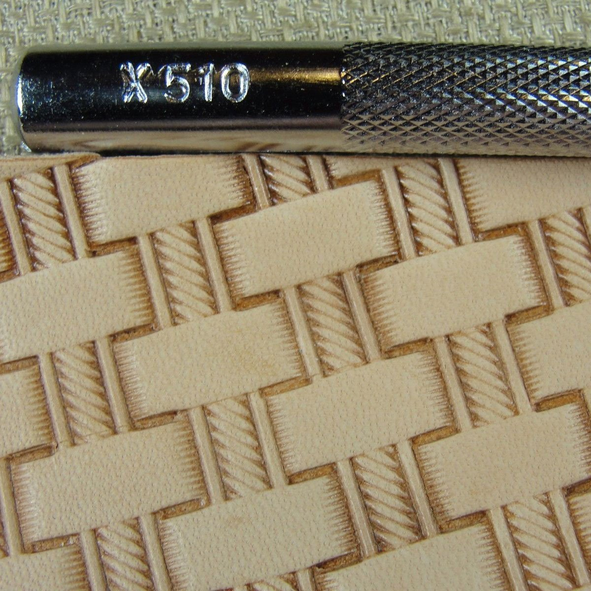 #X510 Rope Basketweave Stamp Leather Stamping Tool Craft Japan