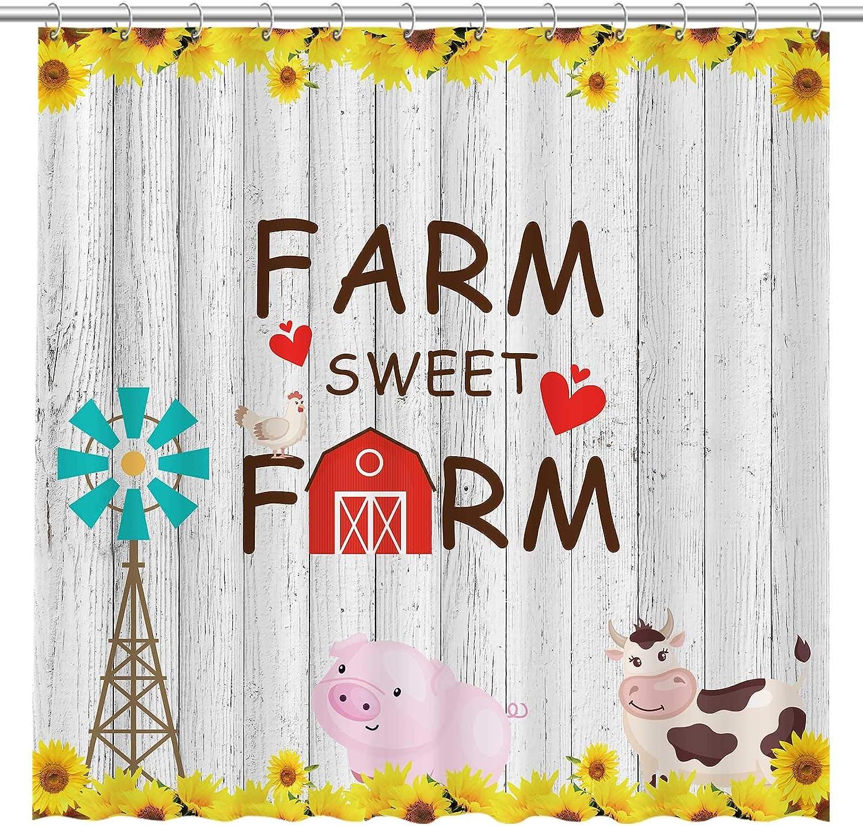 Allenjoy Farm Sweet Farm Animals Sunflower Chicken Cow Pig Fabric Shower Curtain Modern Farmhouse Bathroom Durable Waterproof Bathtub Showers Decor with 12 Hooks 72x72 Inch