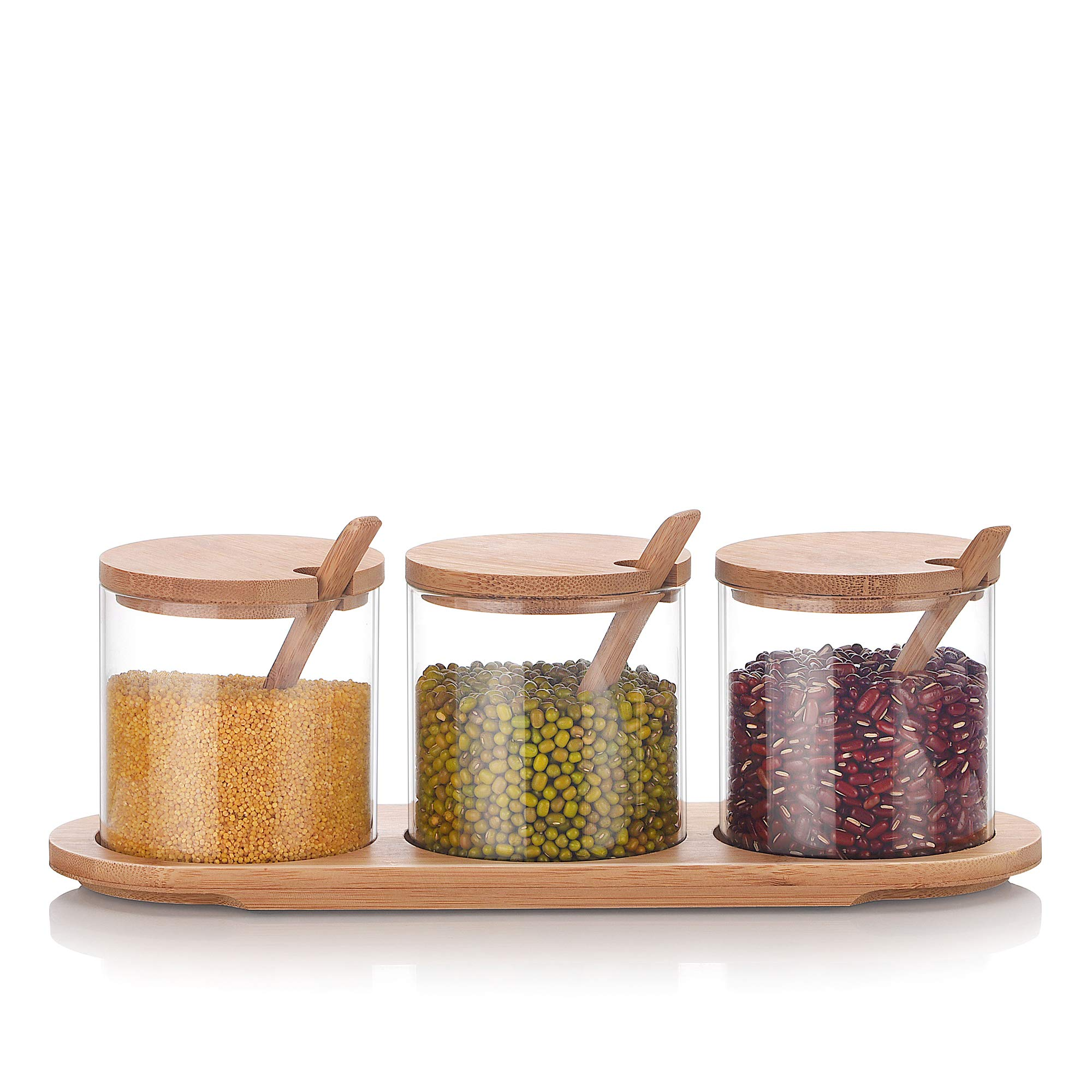 Cupwind 3 PCS/SET Kitchen Glass Seasoning Box with Bamboo Lid and Spoons - Clear Glass Storage Containers Condiment Jars Set with Base for Serving Spice - 10 Ounce Each