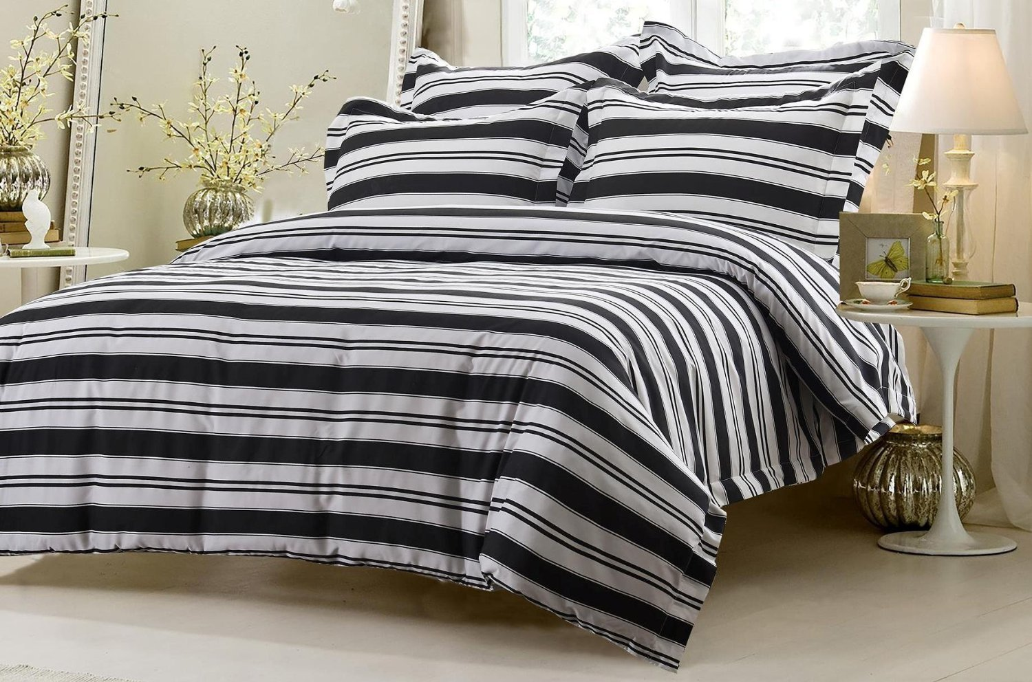 6pc Black and White Striped Bedding Set
