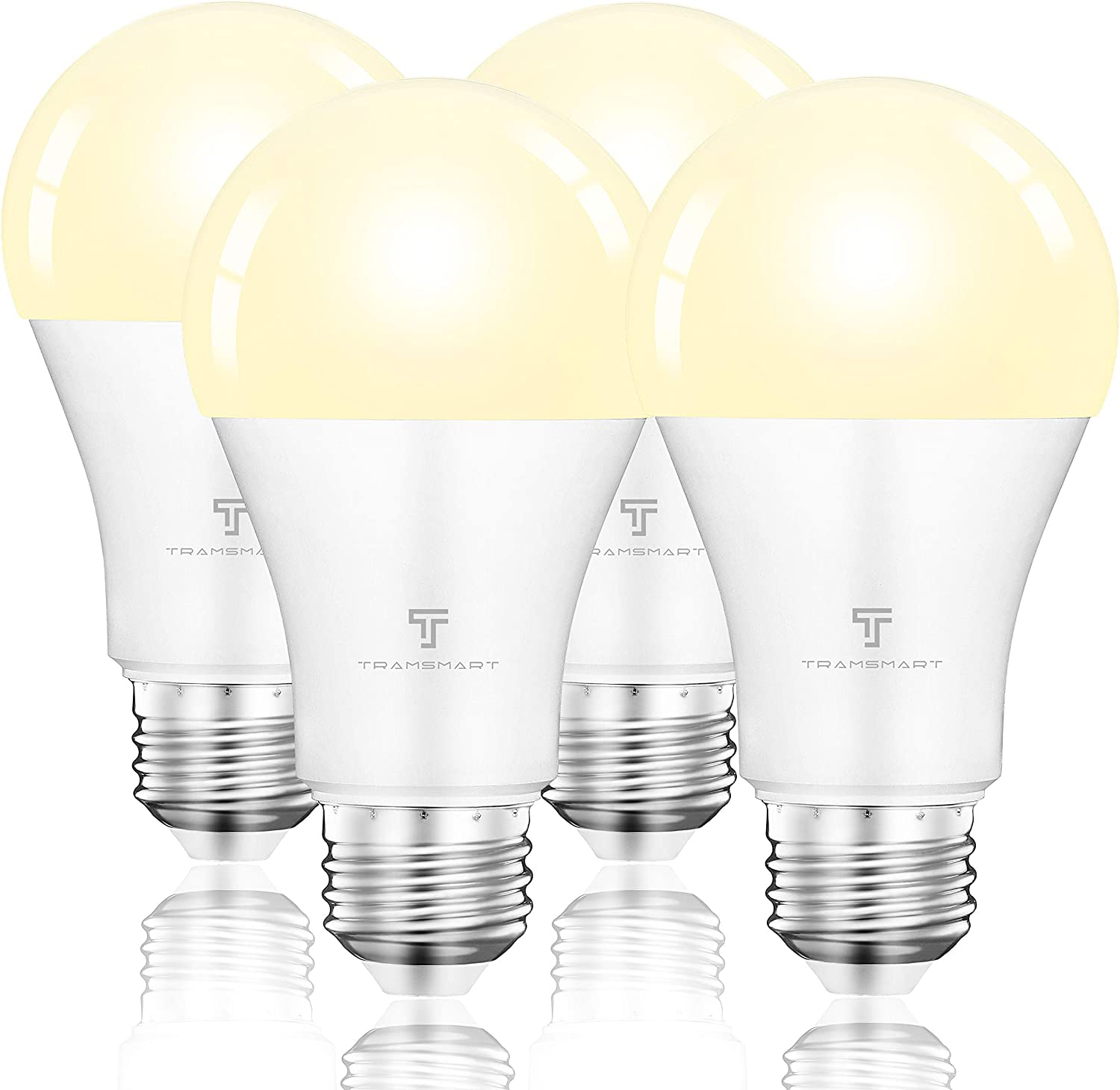 White Alexa Smart Bulbs,WiFi Dimmable Tunable Warm White 800 Lumen 9W(100W Equivalent) E26 Google Home LED Smart Lights,No Hub Required,Phone APP and Voice Remote Control,4 Pack
