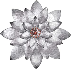 Bohemian Galvanized Metal Flower Wall Decor Metal Wall Art Decorations Hanging For Indoor Outdoor Home Bathroom Kitchen Dining Room Bedroom Living Room Or Wall Sculptures 12 Inch