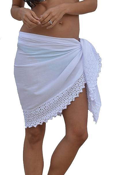 80cdc4e157 INGEAR Beach Wrap Pareo Swimwear Beachwear Skirt Sarong Bikini Summer  Cotton Cover up (White, One Size) at Amazon Women's Clothing store: