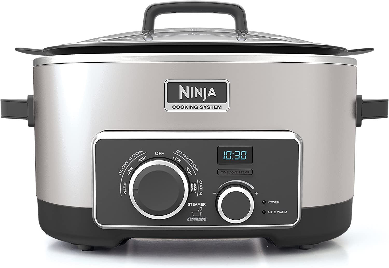 Ninja Multi-Cooker with 4-in-1 Stove Top, Oven, Steam Slow Cooker Options, 6-Quart Nonstick Pot, and Steaming Roasting Rack MC950ZSS , Stainless