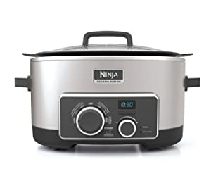 Ninja Multi-Cooker with 4-in-1 Stove Top, Oven, Steam & Slow Cooker Options, 6-Quart Nonstick Pot, and Steaming/Roasting Rack(MC950ZSS), Stainless