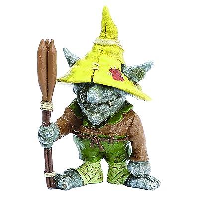 "Miniature Fairy Garden ""Emile The Troll With Cattails Stake"" : Garden & Outdoor"