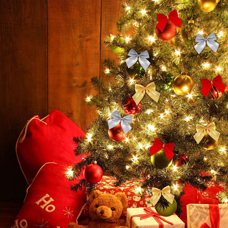 WILLBOND 144 St/ück Weihnachten Schleife Dekoration Mini Weihnachten Schleife Ornament Baum Schleife f/ür Hochzeit Dekoration Kranz H/ängende Girlanden 3 Farben