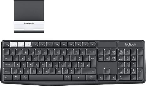 USB Tastiera wireless Bluetooth con 104 tasti 2,4 GHz Nellnissa Logitech K375S con supporto